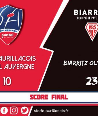 Stade Aurillacois / Biarritz : Défaite